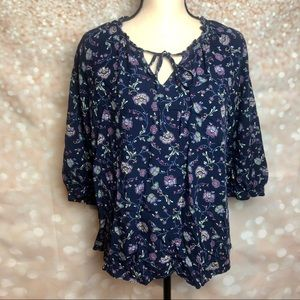 Ana Peasant Tie Front Blouse